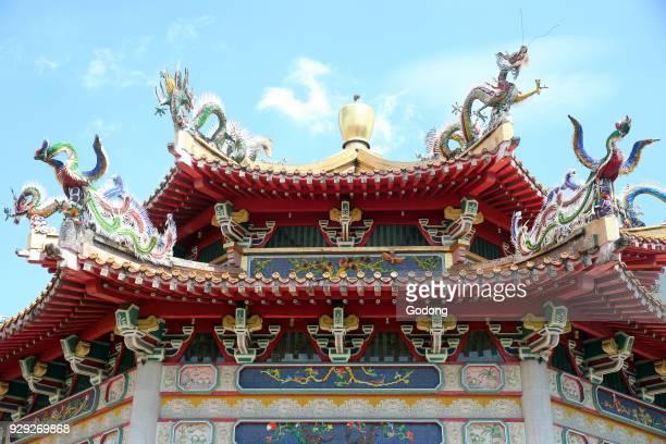 Kong Meng San Phor Kark See Monastery Hall of Amrita Precepts Roof structure and dragons Singapore