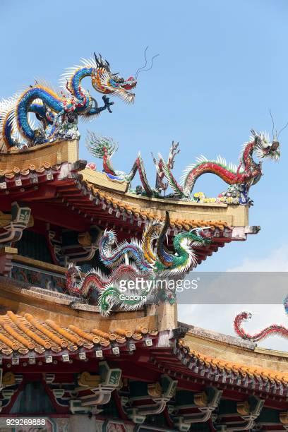 Kong Meng San Phor Kark See Monastery Hall of Amrita Precepts Roof structure with dragons Singapore