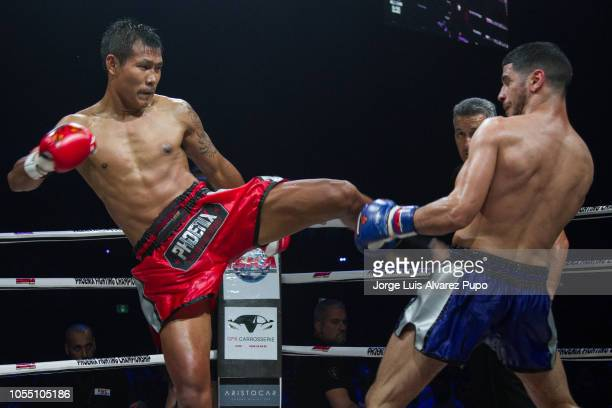 Kongjak Por Paoin of Thailand in action during a 72kg WBC Muay Thai title fight vs Youssef Boughanem at Palais 12 on October 13 2018 in Brussel...