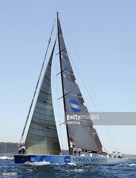 Konica Minolta competes at the start of the 61st Sydney to Hobart yacht race December 26 2005 in Sydney Australia A fleet of 85 boats are competing...