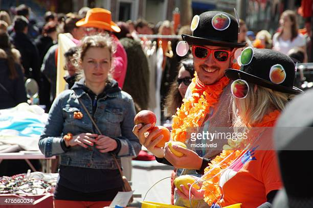 koningsdag in haarlem - king's day netherlands stock pictures, royalty-free photos & images