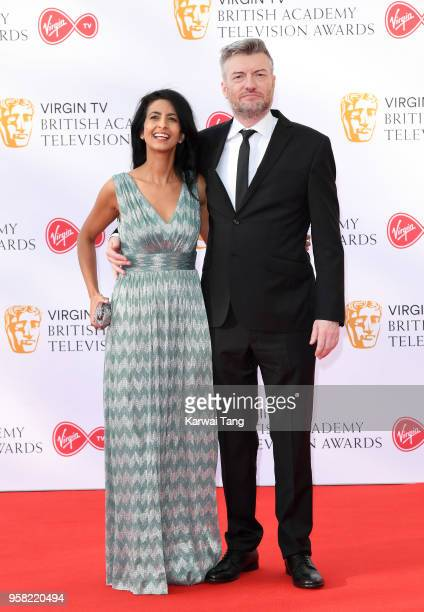 Konnie Huq and Charlie Brooker attend the Virgin TV British Academy Television Awards at The Royal Festival Hall on May 13, 2018 in London, England.