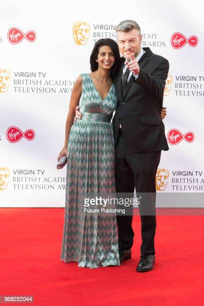 Konnie Huq and Charlie Brooker attend the Virgin TV British Academy Television Awards ceremony at the Royal Festival Hall on May 13, 2018 in London,...