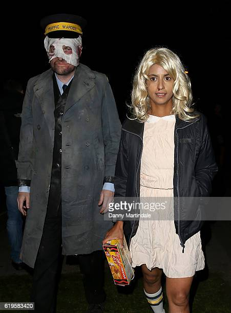Konnie Huq and Charlie Brooker attends Jonathan Ross's Halloween Party on October 31 2016 in London England