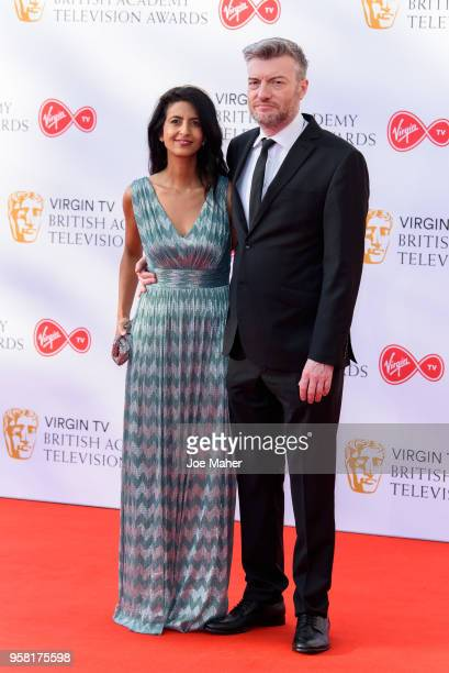 Konnie Huq and Charlier Brooker attend the Virgin TV British Academy Television Awards at The Royal Festival Hall on May 13, 2018 in London, England.
