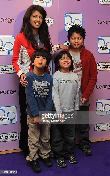 Konnie Huq and family attend the launch of Disney Channel's 'Wizards of Waverly Place' fashion range on April 7 2010 in London England