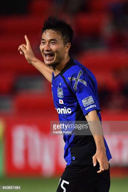 Konno Yasuyuki of Gamba Osaka reacts after scoring a goal during the AFC Asian Champions League match between Adelaide United and Gamba Osaka at...