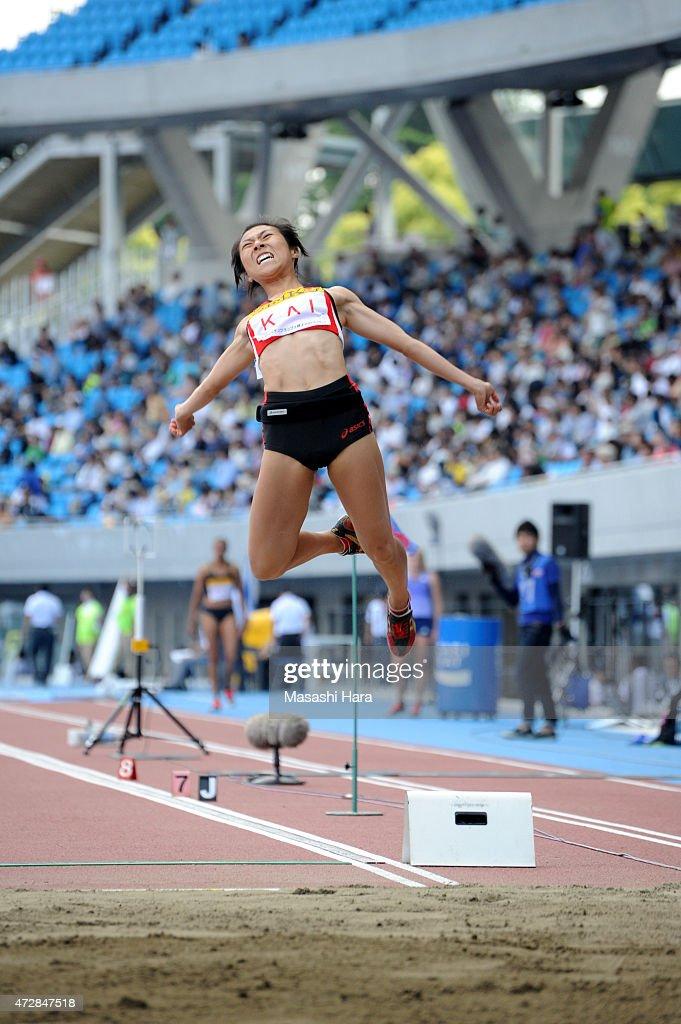 Konomi Kai competes in the Long Jump during the Seiko Golden Grand Prix Tokyo 2015 at Todoroki Stadium on May 10, 2015 in Kawasaki, Japan.