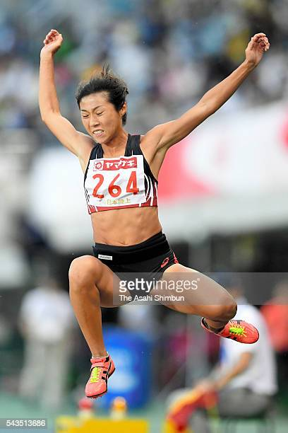 Konomi Kai competes in the Women's Long Jump during day one of the 100th Japan National Athletic Championships at the Paroma Mizuho Stadium on June...