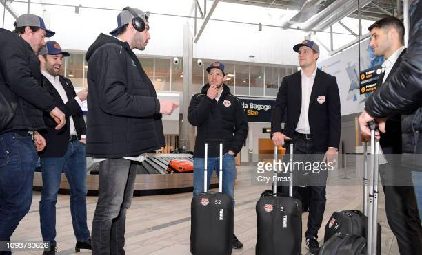 Konrad Abeltshauser, Daryl Boyle, Trevor Parkes, Patrick Hager, Keith Aulie and Justin Shugg of EHC Red Bull Muenchen during the arrival at the...