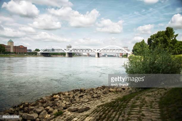 konrad adenauer bridge mannheim ii (konrad adenauer bruecke) - mannheim stock-fotos und bilder