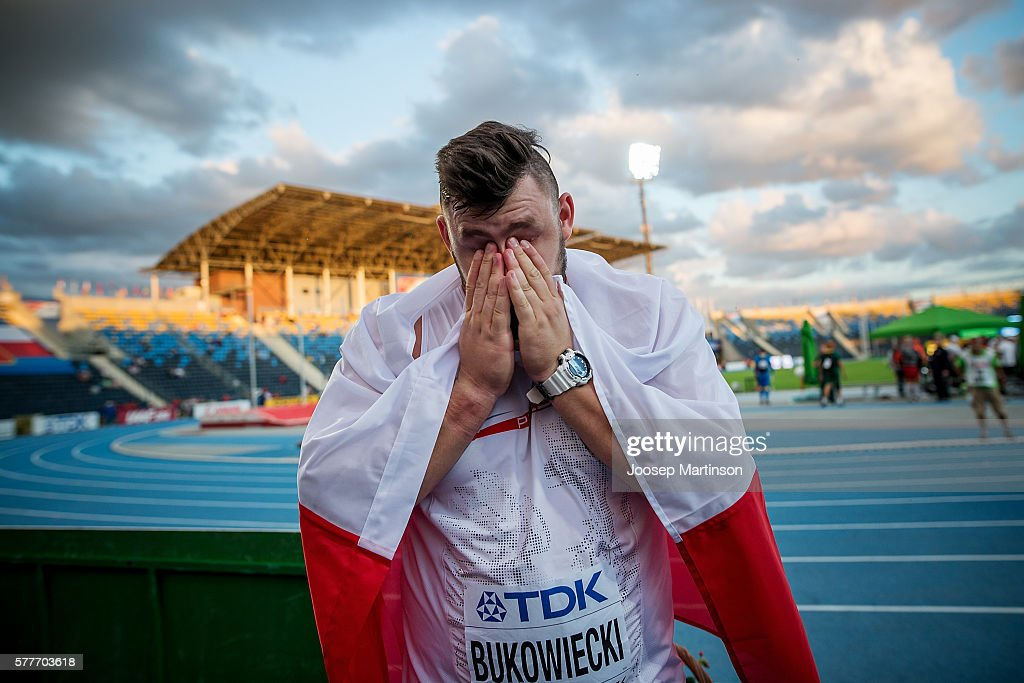 Konrad Bukowiecki from Poland celebrates winning gold with the world record in men's shot put during the IAAF World U20 Championships at the Zawisza Stadium on July 19, 2016 in Bydgoszcz, Poland.
