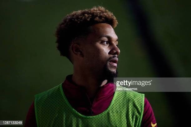 Konrad De La Fuente of FC Barcelona B looks on as he warms up during the Segunda Division B Group IIIA match between CE L'Hospitalet and FC Barcelona...