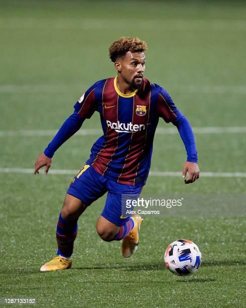 Konrad De La Fuente of FC Barcelona B runs with the ball during the Segunda Division B Group IIIA match between CE L'Hospitalet and FC Barcelona B at...