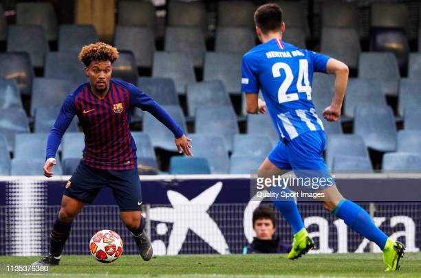 Konrad De La Fuente of FC Barcelona U19 with the ball during the UEFA Youth League round of 16 round 2 at Mini Estadi on March 12 2019 in Barcelona...