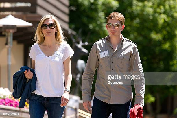 Konrad Feldman cofounder and chief executive officer of Quantcast right and Jennie Feldman walk outside the inn around lunchtime at the 28th annual...