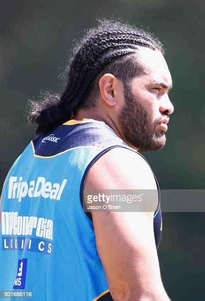 Konrad Hurrell during a Gold Coast Titans NRL training session at Parkwood on March 14 2018 in Gold Coast Australia