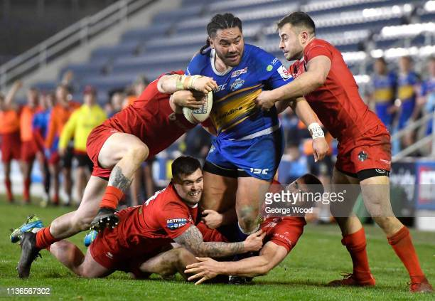 Konrad Hurrell of Leeds Rhinos on the charge as he is tackled during the Betfred Super League match between Leeds Rhinos and London Broncos at...