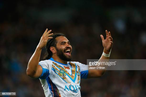 Konrad Hurrell of the Titans celebrates victory during the round 10 NRL match between the Melbourne Storm and the Gold Coast Titans at Suncorp...