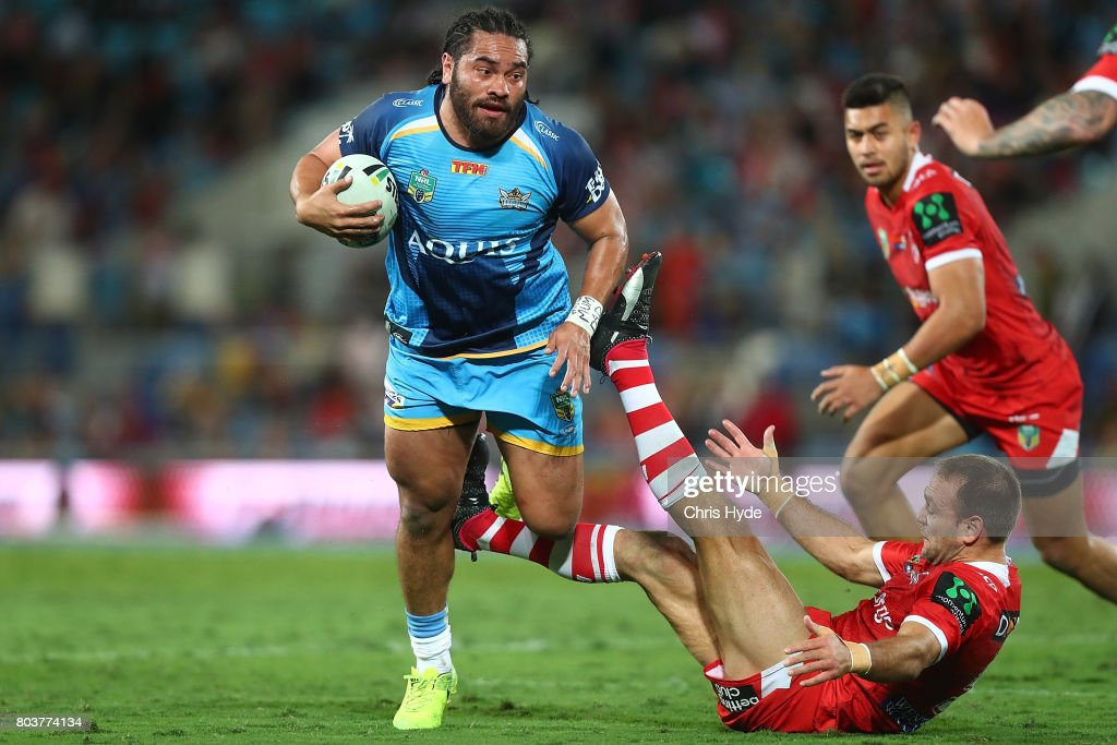 Konrad Hurrell of the Titans makes a break during the round 17 NRL match between the Gold Coast Titans and the St George Illawarra Dragons at Cbus Super Stadium on June 30, 2017 in Gold Coast, Australia.