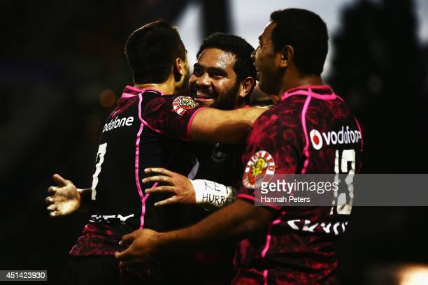 Konrad Hurrell of the Warriors celebrates after scoring a try during the round 16 NRL match between the New Zealand Warriors and the Penrith Panthers...