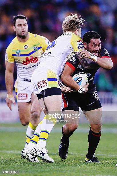 Konrad Hurrell of the Warriors charges forward during the round 16 NRL match between the New Zealand Warriors and the Canberra Raiders at Mt Smart...