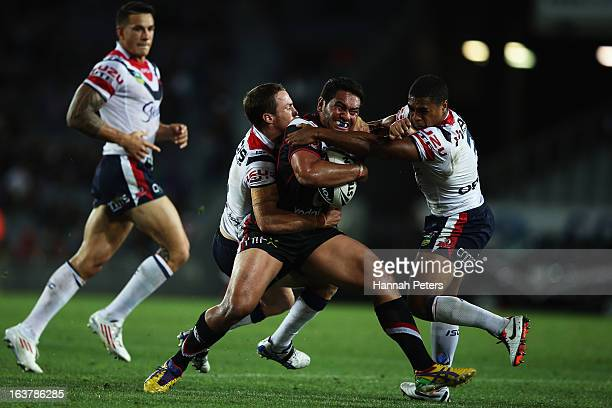 Konrad Hurrell of the Warriors charges forward during the round two NRL match between the New Zealand Warriors and the Sydney Roosters at Eden Park...