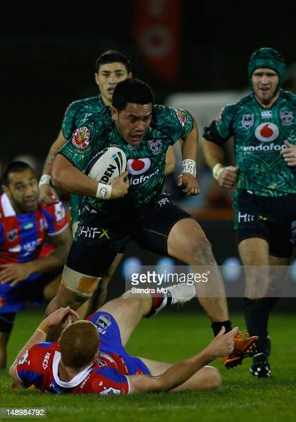 Konrad Hurrell of the Warriors in action during the round 20 NRL match between the Warriors and the Newcastle Knights at Mt Smart Stadium on July 21,...