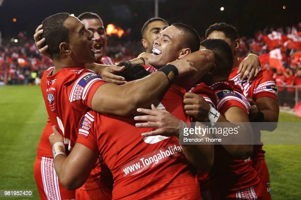 Konrad Hurrell of Tonga celebrates with team mates after scoring a try during the 2018 Pacific Test Invitational match between Tonga and Samoa at...