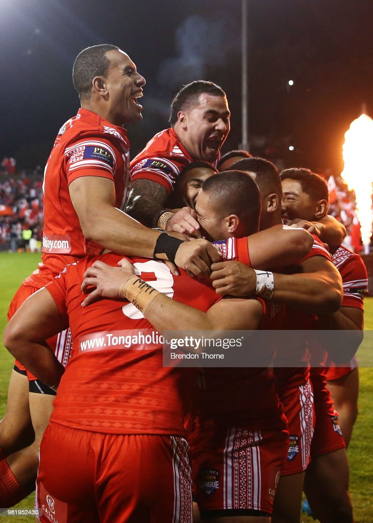 Konrad Hurrell of Tonga celebrates with team mates after scoring a try during the 2018 Pacific Test Invitational match between Tonga and Samoa at Campbelltown Sports Stadium on June 23, 2018 in Sydney, Australia.