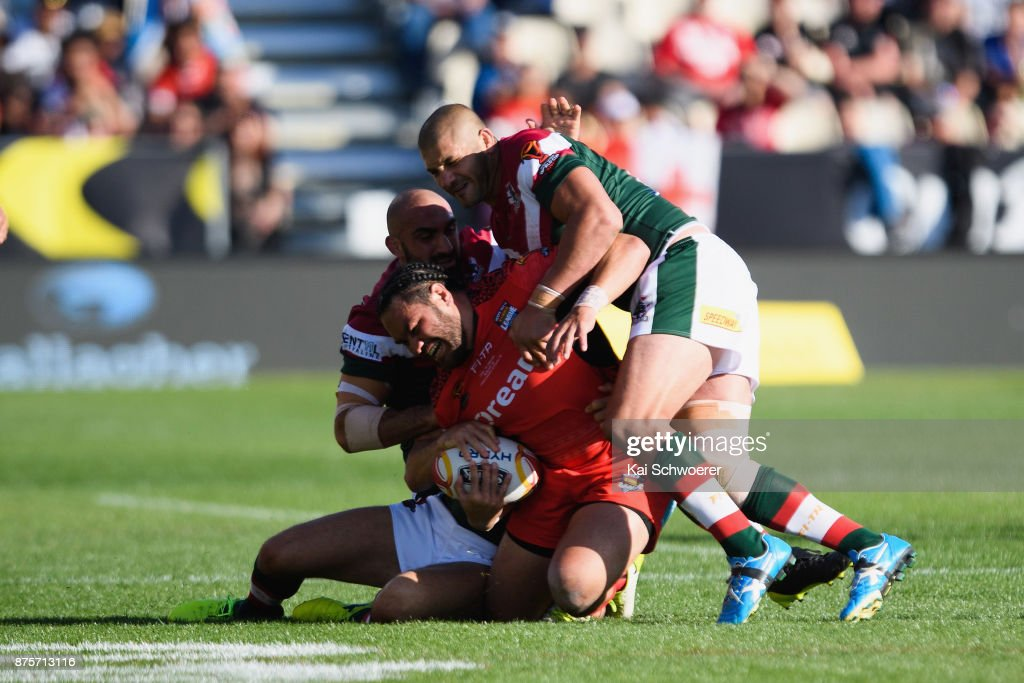 Konrad Hurrell of Tonga is tackled during the 2017 Rugby League World Cup Quarter Final match between Tonga and Lebanon at AMI Stadium on November 18, 2017 in Christchurch, New Zealand.