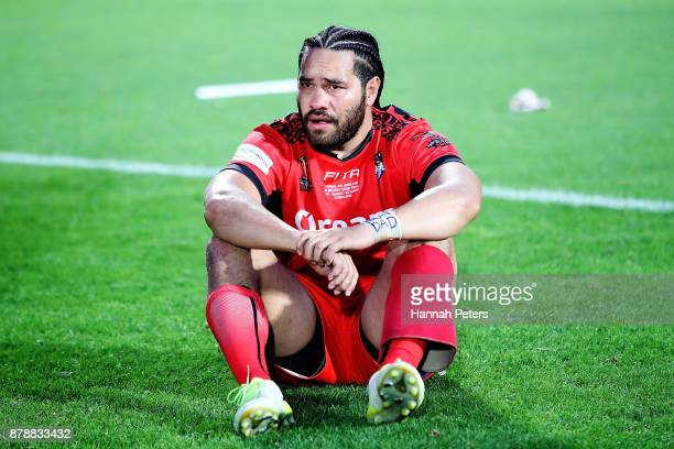 Konrad Hurrell of Tonga looks on after losing the 2017 Rugby League World Cup Semi Final match between Tonga and England at Mt Smart Stadium on...