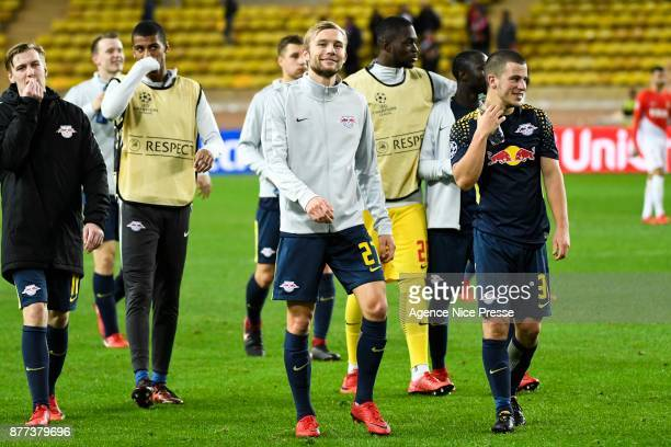 Konrad Laimer and Diego Demme of Leipzig during the UEFA Champions League match between As Monaco and RB Leipzig at Stade Louis II on November 21...