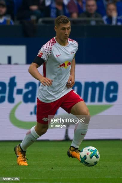 Konrad Laimer of Leipzig controls the ball during the Bundesliga match between FC Schalke 04 and RB Leipzig at VeltinsArena on August 19 2017 in...