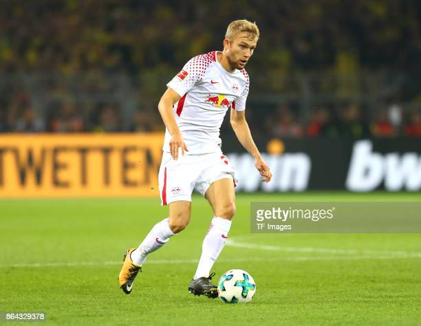 Konrad Laimer of Leipzig controls the ball during the Bundesliga match between Borussia Dortmund and RB Leipzig at Signal Iduna Park on October 14...