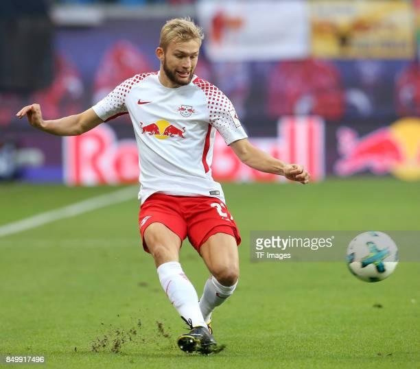 Konrad Laimer of Leipzig controls the ball during the Bundesliga match between RB Leipzig and Borussia Moenchengladbach at Red Bull Arena on...