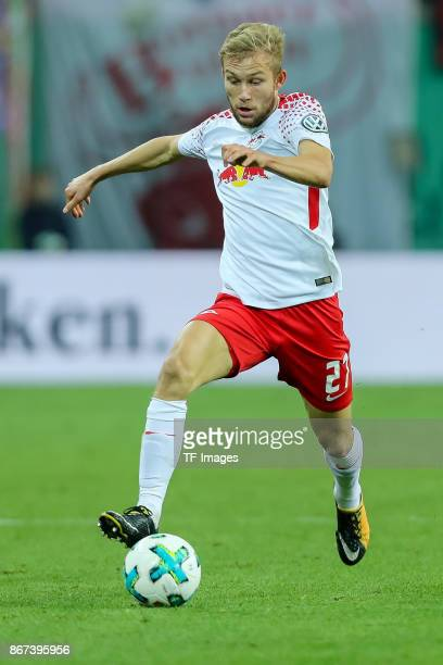 Konrad Laimer of Leipzig controls the ball during the DFB Cup round 2 match between RB Leipzig and Bayern Muenchen at Red Bull Arena on October 25...