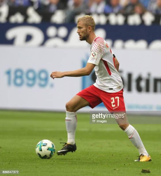 Konrad Laimer of Leipzig in action during the Bundesliga match between FC Schalke 04 and RB Leipzig at VeltinsArena on August 19 2017 in...