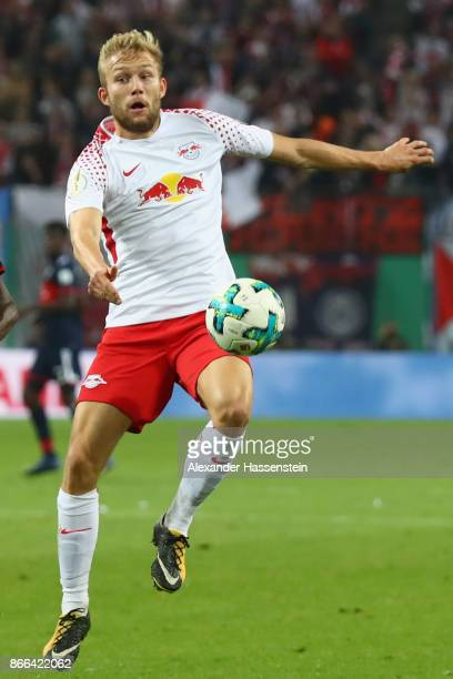 Konrad Laimer of Leipzig runs with the ball during the DFB Cup round 2 match between RB Leipzig and Bayern Muenchen at Red Bull Arena on October 25...