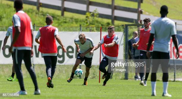 Konrad Laimer of RB Leipzig and Marcel Sabitzer of RB Leipzig battle for the ball during the Training Camp of RB Leipzig on July 21 2017 in Seefeld...
