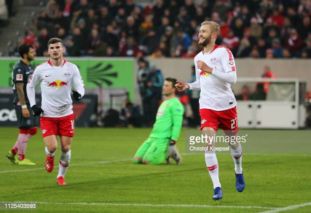 Konrad Laimer of RB Leipzig celebrates as he scores his team's fourth goal during the Bundesliga match between Fortuna Duesseldorf and RB Leipzig at...