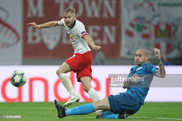 Konrad Laimer of RB Leipzig scores his team's first goal during the UEFA Champions League group G match between RB Leipzig and Zenit St Petersburg at...