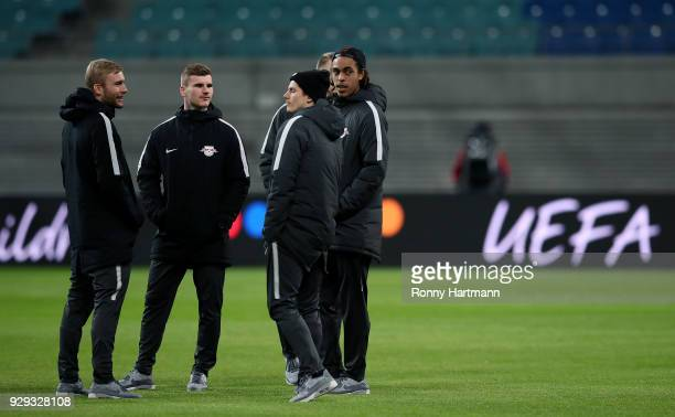 Konrad Laimer Timo Werner Marcel Sabitzer and Yussuf Poulsen of RB Leipzig arrive prior to the UEFA Europa League Round of 16 match between RB...