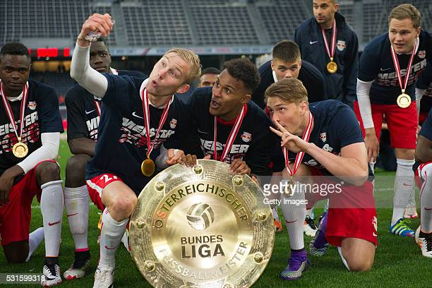 Konrad Laimer Valentino Lazaro and Asger Soerensen celebrate with the trophy for winning the Austrian Soccer Championship 2015/2016 after the tipico...