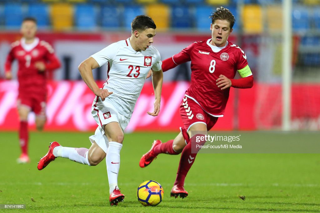 Konrad Michalak of Poland and Mathias Jensen of Denmark during UEFA U21 Championship Qualifier match between Poland and Denmark on November 14, 2017 in Gdynia, Poland.