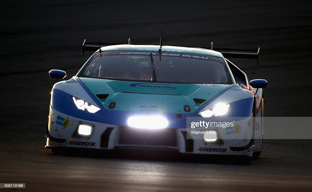 Konrad Motorsport Lamborghini Huracan GT3 races during the Hankook 24 Hours Dubai Race in the International Endurance Series at Dubai Autodrome on January 15, 2015 in Dubai, United Arab Emirates.