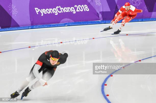 Konrad Niedzwiedzki of Poland and Nico Ihle of Germany at 1000 meter speedskating at winter olympics Gangneung South Korea on February 23 2018