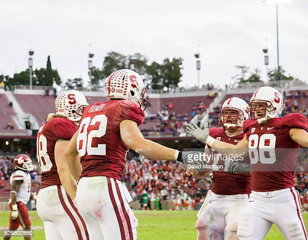 Konrad Reuland Chase Beeler Coby Fleener and Owen Marecic of the Stanford Cardinal celebrate a touchdown catch by Fleener during a PAC12 NCAA...