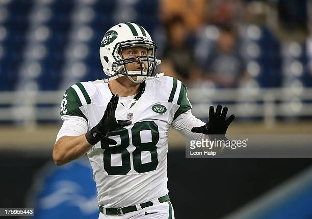Konrad Reuland of the New York Jets goes through the pregame warms ups prior to the start of the preseason game against the Detroit Lions at Ford...