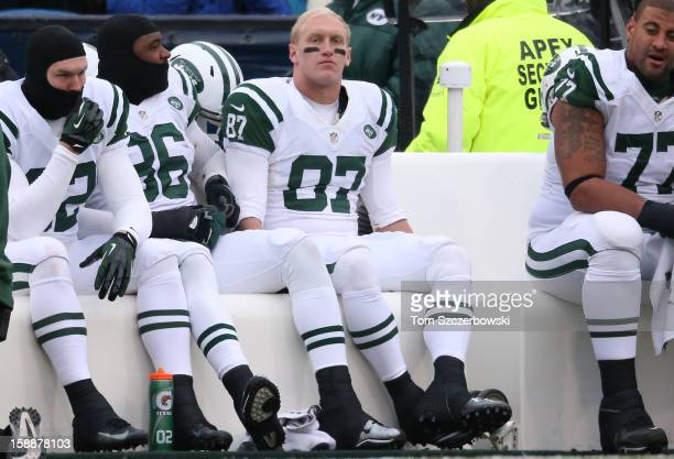 Konrad Reuland of the New York Jets looks on from the bench during an NFL game against the Buffalo Bills at Ralph Wilson Stadium on December 30 2012...